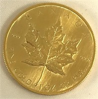 1980 Canadian $50 .999 Fine Gold 1 Oz. Or Pur