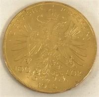 1915 Austria Gold 100 Corona Coin