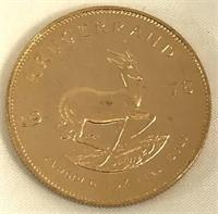 1978 South Africa Gold Krugerrand 1 Oz. Fine Gold