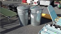 Three Galvanized Trash Cans, only 2 lids, cans in