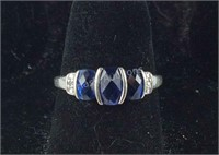 10Kt Solid white gold Sapphire & Diamond SZ 7