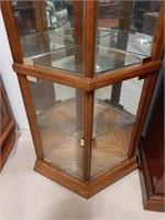 Five shelf wooden Corner curio cabinet