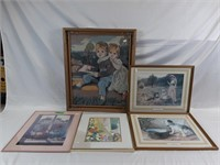 """Collection of art, largest is 23"""" x 27 1/2"""""""