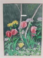 Billie Appleton Framed watercolour flower garden