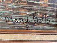 Mary Bollo Framed original oil on canvas seaside