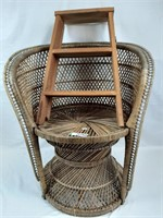 Wicker chair and wooden step stool