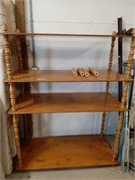 Large Wooden Shelf And Side Table With 4 Extra
