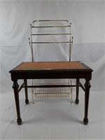 Wicker and wood decor seat and metal bathroom rack