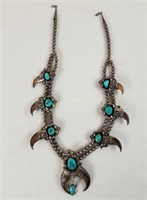 Vintage Large Sterling Necklace W/ Turquoise Etc.