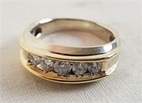14k Two-tone Men's 1 Ct. Diamond Wedding Band