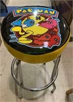 Pac-Man arcade vinyl top work stool with chrome