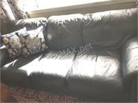 Blue Leather Couch w Wooden Feet