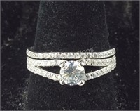 Sterling silver CZ ring set size 8