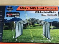 20FT X 20FT ALL-STEEL CARPORT WITH ENCLOSED SIDES