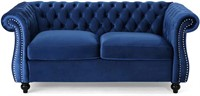 Traditional Chesterfield Loveseat Sofa, Navy Blue