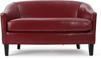 Justine Leather Loveseat, Red