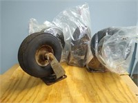 Lot of 4 industrial casters solid rubber tires