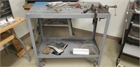 Industrial roll around shop cart with contents