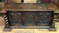 Large early antique feudal oak blanket chest