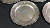 """Five 6"""" sterling silver plates"""