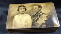 Antique King George VI and Queen Elizabeth II Tin