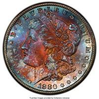 1880-S $1 Morgan Dollar PCGS MS67+ Rainbow Toned