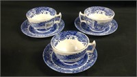 Three Spode tea cups and saucers like new
