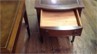 Two antique imperial leather top end tables