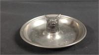 Unusual 6 inch pewter wolf head ashtray