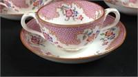 3 vintage Cauldon tea cups and saucers