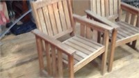 Two outdoor wood chairs