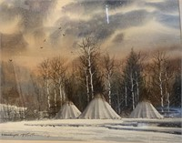 """Michael McCullough Water Color """"Crow Camp"""" 12 x"""