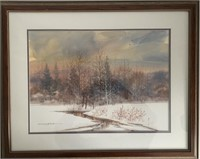 """Michael McCullough Water Color """"Winter Meadow"""" 16"""