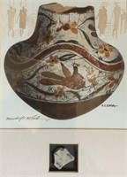 """Michael McCullough Water Color """" Acoma W/ Pottery"""