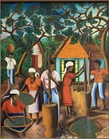 "Haitian Artist Wilmino Domond ""1959 oil on Board"