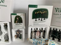 Department 56 Trees, Lamps, Figures & a Hand blown