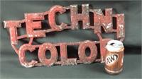 Vintage 19 x 10 aluminum Technicolor sign