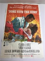 """Large 41"""" x 27"""" Gone with the Wind Original Poster"""