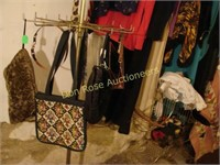 Booth of Vintage Clothing, Racks, Quilt, etc
