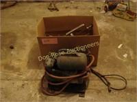 Box of Scrap Metal and Old Air Compressor