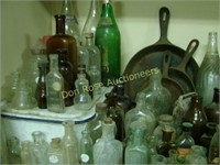 Large Lot of Glass & Miscellaneous Bottles, Bowl