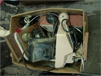 Box of Old Phones and Miscellaneous