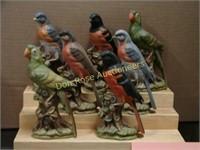 Set of 7 Bird Figurines, unmarked