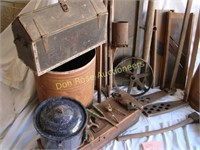 Large Lot of Primitive Tools, Toledo Coffee Tin