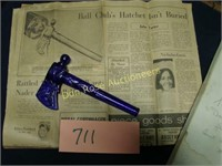 Cobalt Blue Glass Hatchet