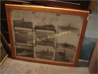 Old frames, pictures, mirrors, and wood show cases