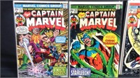 Five vintage marvel captain Marvel comic books