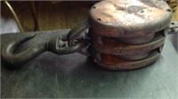 Vintage wood and metal hoist & hook