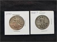 1940 & 1940 S Liberty Silver Half Dollars