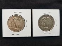 1942 & 1942 S Liberty Silver Half Dollars